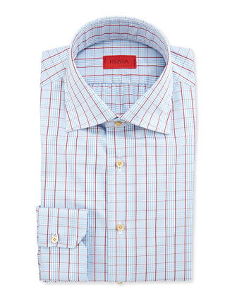 Glen Plaid Windowpane Shirt, Blue/Red