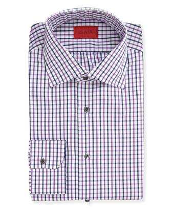 Woven Grid Dress Shirt, Purple/Navy