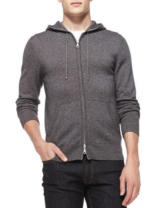 Cashmere/Cotton Zip Hoodie, Gray