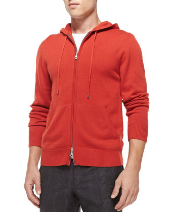 Cashmere/Cotton Zip Hoodie, Orange