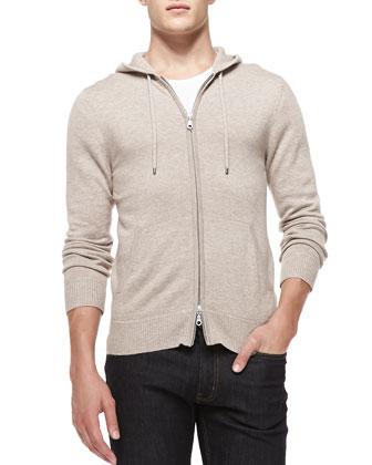 Cashmere/Cotton Zip Hoodie, Beige