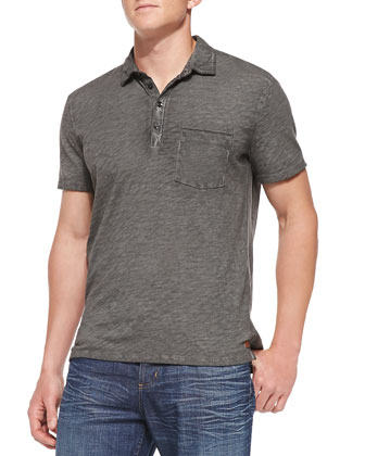 Slub Jersey Polo Shirt, Charcoal