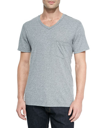 Short-Sleeve Slub Jersey V-Neck Tee, Gray