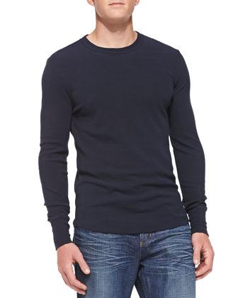 Long-Sleeve Mini Waffle Shirt