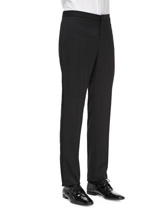 Wool Tuxedo Trousers, Black