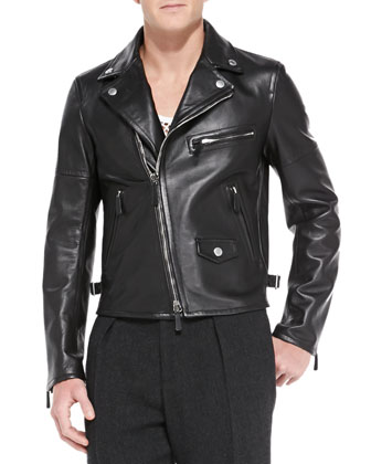 Lambskin Leather Biker Jacket, Black