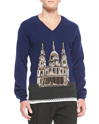 Cathedral Printed Cashmere V-Neck Sweater, Brilliant Navy