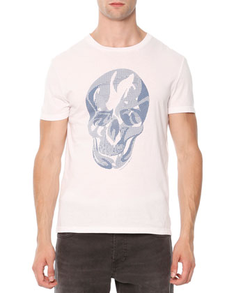 Plaid-Skull Jersey Tee, White