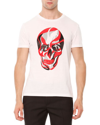 Skull-Print Jersey Tee, Red/White/Black