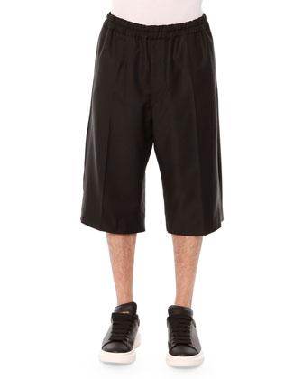 Plaid-Kabuki Bomber Jacket & Drawstring Long-Shorts