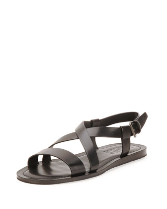 Nostro Calfskin Posted Ankle Strap Sandal, Black