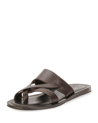 Nev Calfskin Toe Ring Sandal, Brown