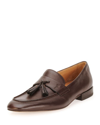 Napa Calfskin Tassel Loafer, Brown