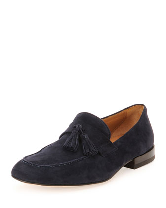 Suede Tassel Loafer, Blue