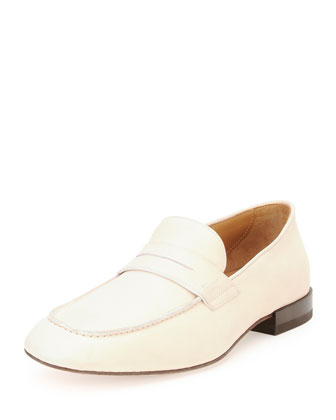 Naples Calfskin Penny Loafer, Off White