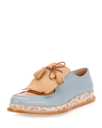 Nikos Runway Kiltie-Tassel Loafer with Karung Midsole, Light blue