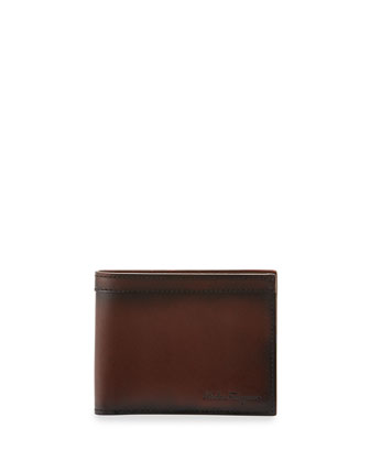 Nicos Hand Burnished Leather Wallet, Brown