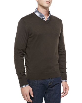 Cashmere-Silk V-Neck Sweater, Dark Brown/Gray