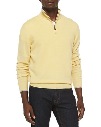 Cashmere Cloud Quarter-Zip Sweater, Yellow
