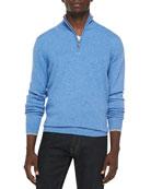 Cashmere Cloud Quarter-Zip Sweater, Light Blue