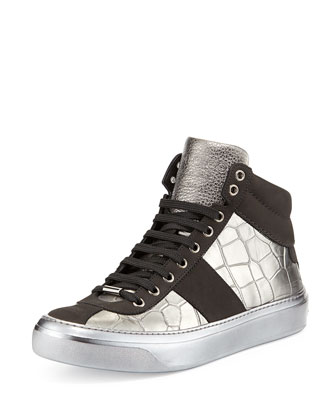 Belgravia Croc-Stamped High-Top Sneaker, Metallic
