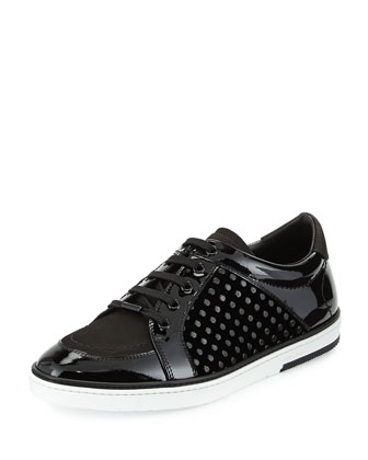 Sydney Patent Leather Low-Top Sneaker, Black