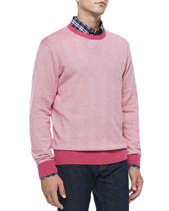 Cotton/Cashmere Striped Sweater, Pink/White