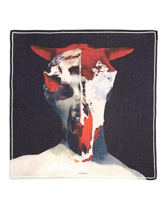 Bull & Skull Print Square Scarf