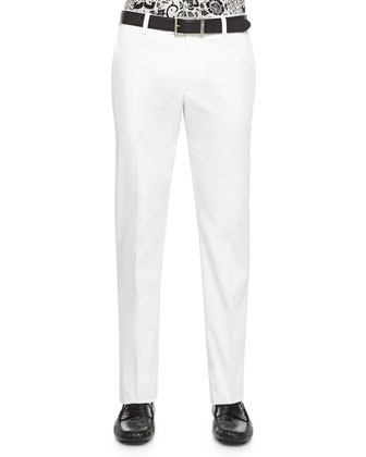 Cotton Stretch Trousers, White