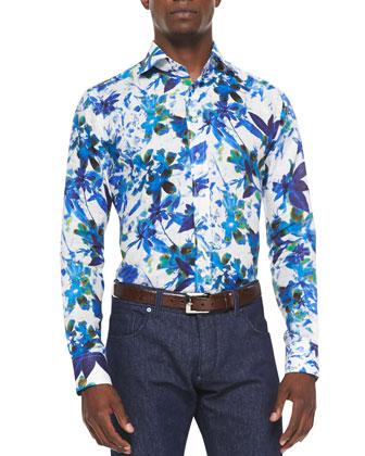 Linen Floral-Print Shirt, Multi