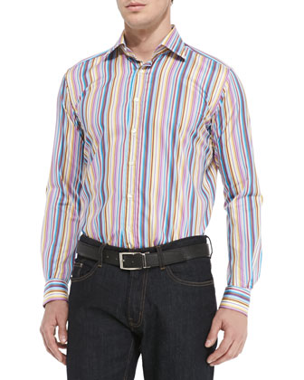 Multi-Striped Long-Sleeve Shirt, Multi