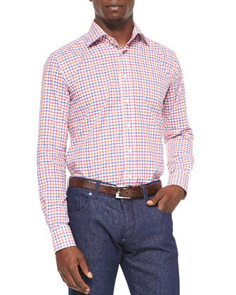 Long-Sleeve Gingham Shirt, Multi