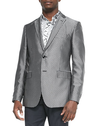 Square-Jacquard Evening Jacket
