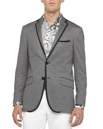 Grosgrain-Trim Jacket, Black/White