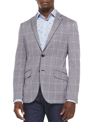 Linen-Blend Houndstooth Windowpane Blazer, Navy