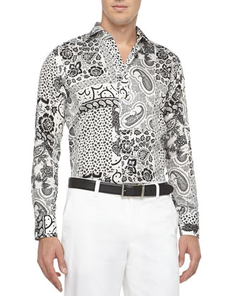 Grosgrain-Trim Jacket & Paisley-Print Shirt
