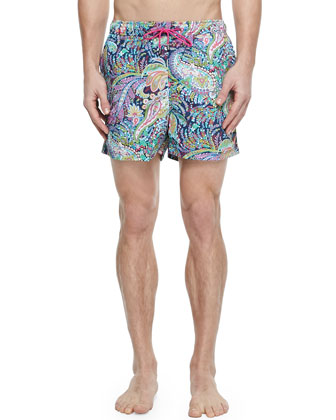 Paisley-Print Swim Trunks