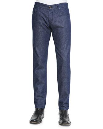 Sealife-Print Fine-Striped Shirt & Clean Dark-Wash Denim Jeans