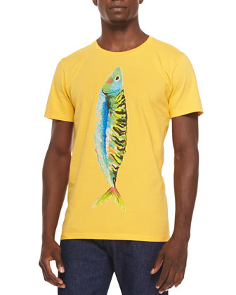 Short-Sleeve Fish-Print Tee, Yellow