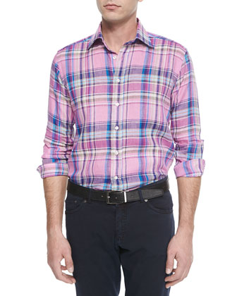 Woven Plaid Linen Sport Shirt, Blue/Multi