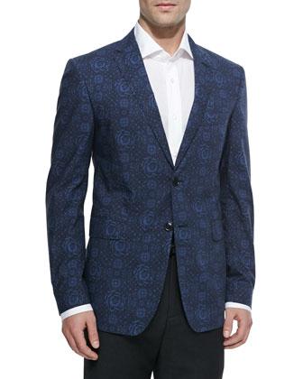 Floral-Print Two-Button Blazer, Blue Floral