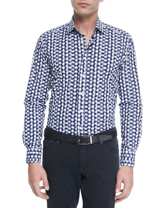 Long-Sleeve Geo-Dot-Print Sport Shirt, Navy