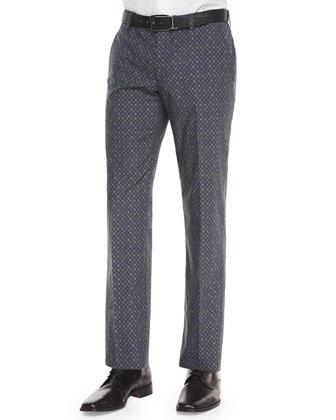 Micro-Medallion-Print Trousers, Blue/Green