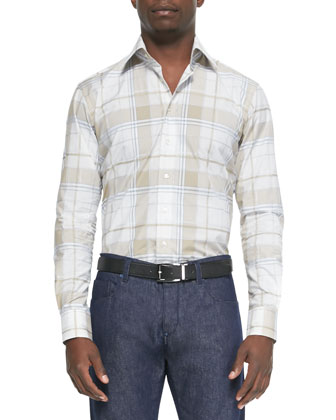 Plaid-Print Long-Sleeve Sport Shirt, Tan