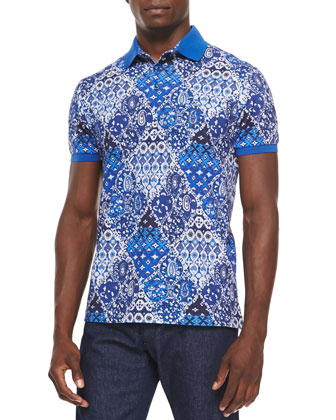 Paisley Short-Sleeve Pique Polo, Blue