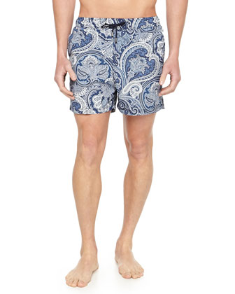 Paisley-Print Swim Trunks, Navy