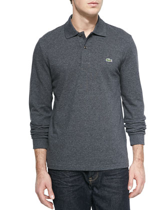 Long-Sleeve Pique Polo, Dark Gray