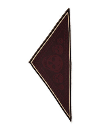 Men's Woven Skull-Print Triangle Scarf, Bordeaux-Black