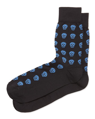 Skull Knit Short Socks, Mid-Blue/Black