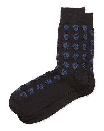Skull Knit Short Socks, Sky Blue/Black